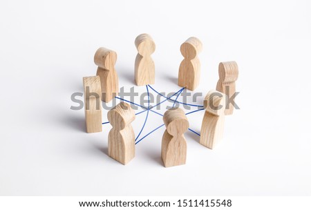 Circle of people interconnected by curves lines. cooperation, teamwork, training. Collaboration and cooperation, participation. Social connections, joining to solve tasks. Staff, community meeting Royalty-Free Stock Photo #1511415548