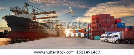 Logistics and transportation of Container Cargo ship and Cargo plane with working crane bridge in shipyard at sunrise, logistic import export and transport industry background #1511491469