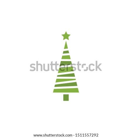 Christmas tree. Tree icon in flat design. Xmas cartoon background. merry spruce fir. Winter illustration isolated on white. Pine #1511557292