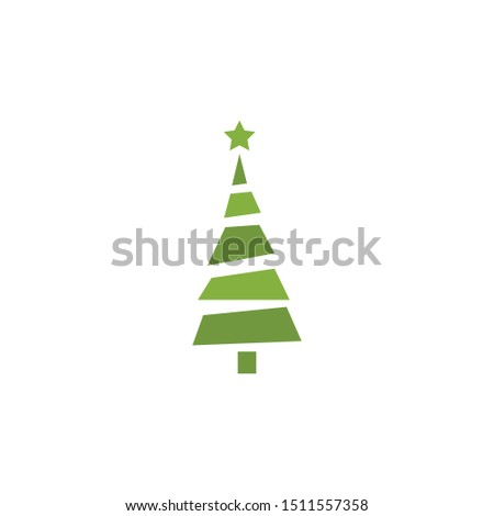 Christmas tree. Tree icon in flat design. Xmas cartoon background. merry spruce fir. Winter illustration isolated on white. Pine #1511557358