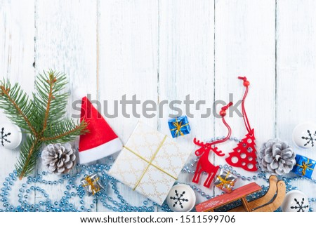 Christmas decoration frame background on old white wood table #1511599706