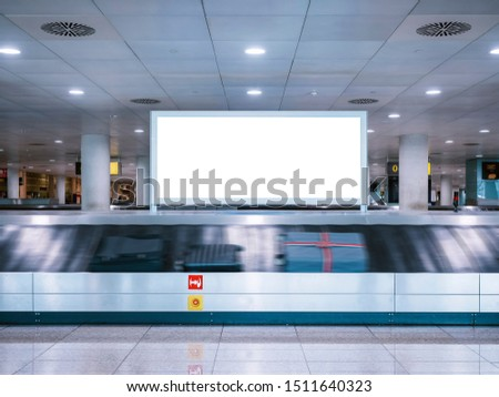 Mock up Signboard Airport Luggage Carousel Conveyor with Baggages on conveyor belt #1511640323