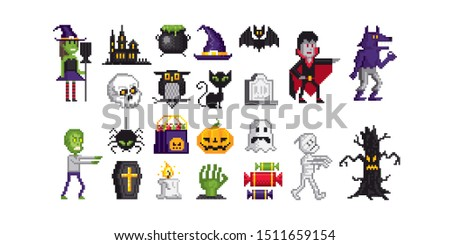 Huge collection of halloween pixel art icons. Element design for logo, stickers, web, embroidery and mobile app. Isolated vector illustration. 8-bit sprite.