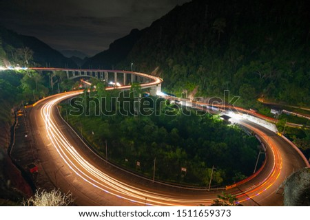 Beautiful night view in wonderful bridge. This photo take in the one of beautiful place West Sumatra Indonesia.