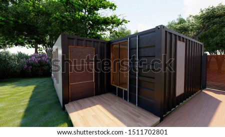 container house made from  modern metal building in graden Royalty-Free Stock Photo #1511702801