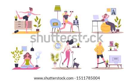 Sport exercise at home set. Woman doing workout indoor. Yoga and fitness, healthy lifestyle. Flat vector illustration #1511785004