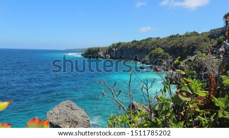 spectacular view cliffs of Apparallang and sea blue in country Indonesia. beautiful coral reef view at Apparallang cliffs #1511785202
