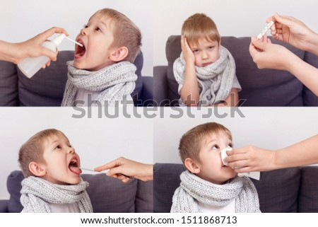 Collage with a sick child. Sick baby freezes, wrapped in a scarf. Flu season. #1511868713