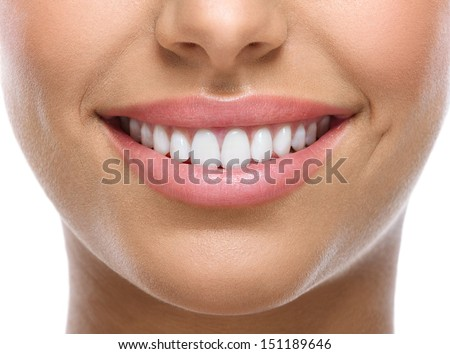 closeup of smile with white healthy teeth  #151189646
