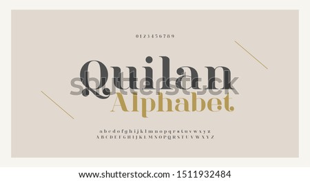 Elegant alphabet letters font and number. Classic Copper Lettering Minimal Fashion Designs. Typography fonts regular uppercase and lowercase. vector illustration Royalty-Free Stock Photo #1511932484