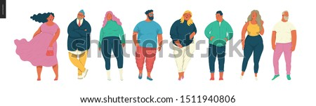 Body positive portraits set - hand drawn flat style vector design concept illustration of men and women, male and female figuers. Flat style vector icons set
