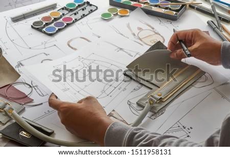 Designer stylish sketch Drawn design template pattern made leather clutch bag handbag purse Woman female Fashionable Fashion Luxury Elegant accessory.                                #1511958131