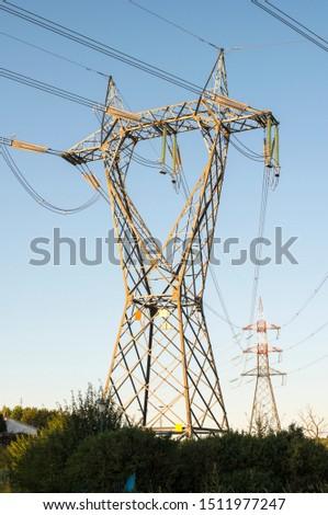 High voltage transmission lines. Transmission of electricity. #1511977247