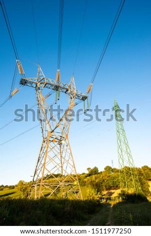 High voltage transmission lines. Transmission of electricity. #1511977250