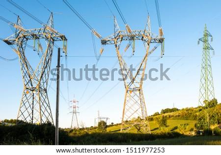 High voltage transmission lines. Transmission of electricity. #1511977253