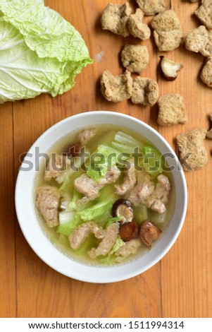 clear soup with textured begetable protein, cabbage and mushroom   #1511994314