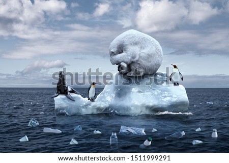 climate change. garbage patch. the bear cries closing its face with its paws. polar bear, penguins and fur seal sits on a melting glacier in the middle of the ocean. ecological catastrophy #1511999291