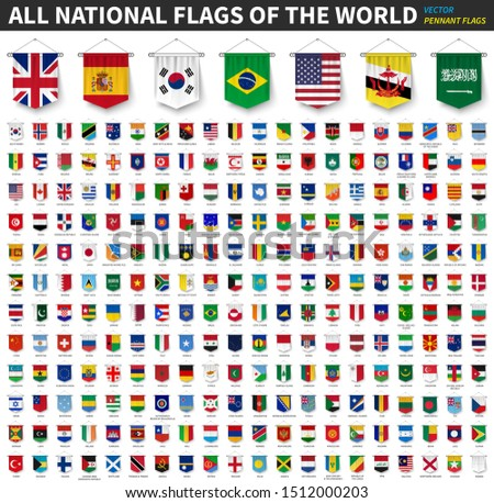 All national flags of the world . 3D realistic pennant hanging design . White isolated background . Vector . #1512000203
