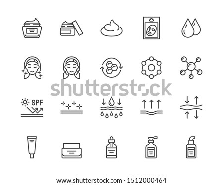 Skin care flat line icons set. Moisturizing cream, anti age lifting face mask, spf whitening gel vector illustrations. Outline signs for cosmetic product package. Pixel perfect Editable Strokes. #1512000464