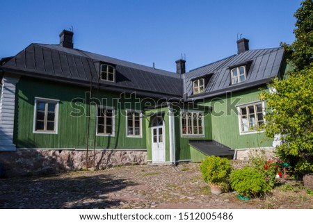 Porvoo, Uusimaa/Finland - 04.09.2019: The picturesque traditional wooden finnish house in the Old Town #1512005486