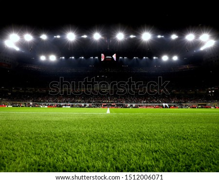 MILAN, ITALY - September 21, 2019:  A general view inside the stadium prior to the Serie A 2019/2020 MILAN v INTER at San Siro Stadium.  #1512006071