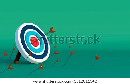 Concept of business target marketing. target backgorund using for business. one of many arrows hit the center of target - 3D rendering #1512011342