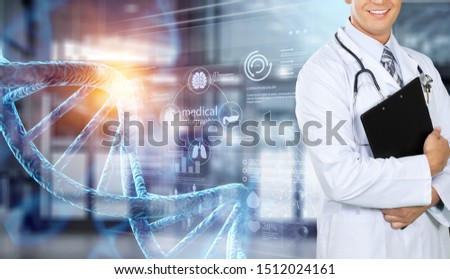 Abstract luminous DNA molecule. Doctor using tablet and check with analysis chromosome DNA genetic of human on virtual interface. Medicine. Medical science and biotechnology.          - Image #1512024161