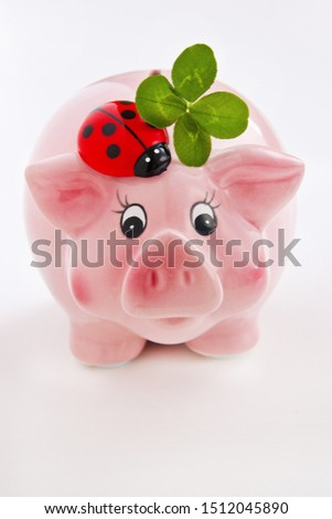 Lucky pig with lucky clover and ladybug #1512045890