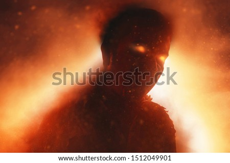 Scary devil burning fire flames Royalty-Free Stock Photo #1512049901
