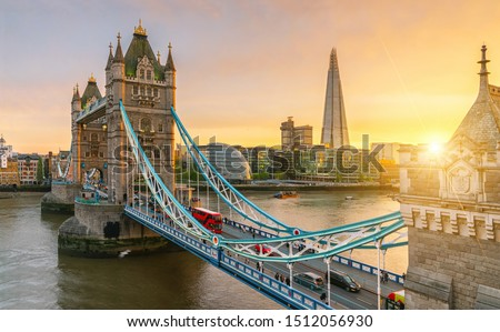 London Tower Bridge, the UK. Sunset with beautiful clouds #1512056930