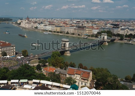 Panorama with view onto the Chain Bridge in Budapest, Hungary #1512070046