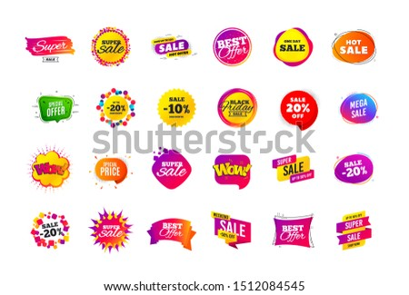Sale banner badge. Special offer discount tags. Coupon shape templates design. Cyber monday sale discounts. Black friday shopping icons. Best ultimate offer badge. Super discount icons. Vector banners #1512084545