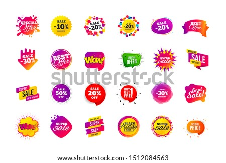 Sale banner badge. Special offer discount tags. Coupon shape templates design. Cyber monday sale discounts. Black friday shopping icons. Best ultimate offer badge. Super discount icons. Vector banners #1512084563