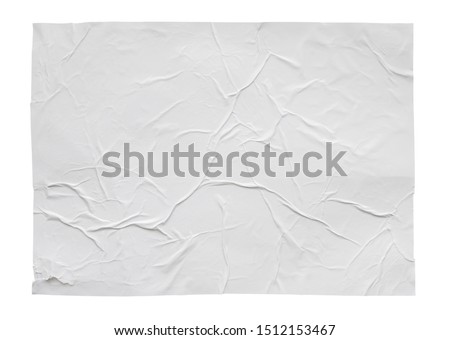 Blank white crumpled and creased sticker paper poster texture isolated on white background #1512153467