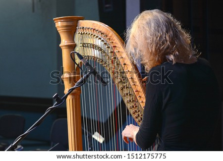 The musician tweaks the harp. Harp player. Classical musician harpist playing harp. Female musician playing the harp. #1512175775