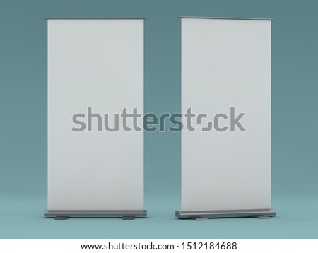 Blank roll up banner display. Template mockup. 3D rendering #1512184688