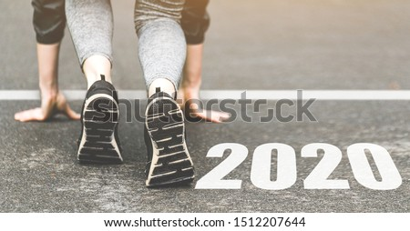 Sneakers close-up, finish 2019. Start to new year 2020 plans, goals, objectives #1512207644