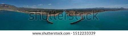 Aerial bird's eye view photo in Poseidonia entrance of Corinth Canal, Greece #1512233339
