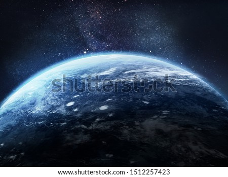 Earth in the outer space collage. Abstract wallpaper. Our home. Elements of this image furnished by NASA #1512257423