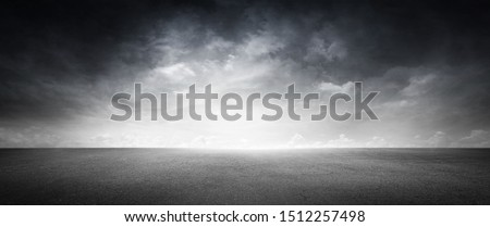 Empty Concrete Area Asphalt Floor with Cloud Sky Background Royalty-Free Stock Photo #1512257498