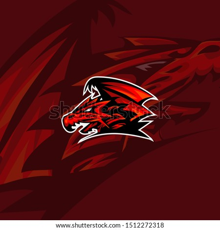 Dragon sport logo game art design. Vintage Esport team Vector logotype template Airsoft squad t-shirt illustration concept symbol