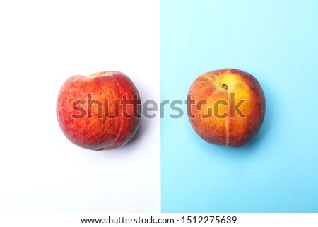Flat lay composition with ripe peaches on color background #1512275639