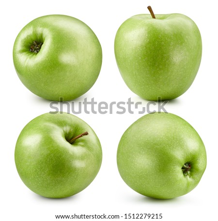 Green apples isolated on white background. Green apples collection. #1512279215