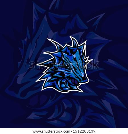 Blue Dragon sport logo mascot game art design. Vintage Esport team Vector logotype template Airsoft squad t-shirt illustration concept symbol for print sticker