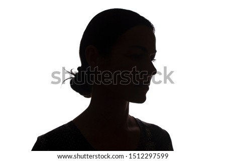 Silhouette of a young girl side view with hairstyle - isolated, noname #1512297599