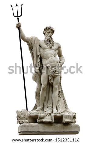 Statue of the Roman god of water of Neptune. In Greek mythology, Poseidon isolated over white. Lviv, Ukraine