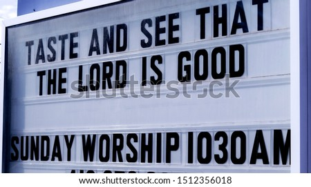 Church Sign with scripture - Psalm 34:8