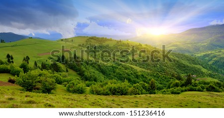 Beautiful mountain landscape in summer day #151236416