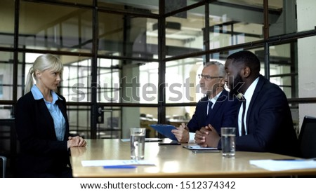 Male employers interviewing nervous female job candidate, career opportunities #1512374342