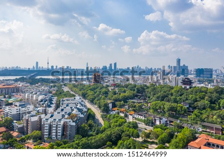 Aerial view of  Wuhan city .Panoramic skyline and buildings beside yangtze river. #1512464999